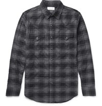 Saint Laurent Aint Lim Fit Checked Tretch Cotton Flannel Wetern Hirt Black