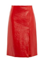 Balenciaga Front Slit Cracked Patent Leather Skirt Red