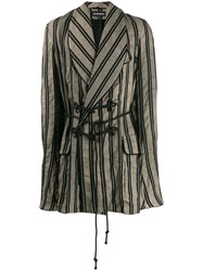 Ann Demeulemeester Double Breasted Striped Coat Neutrals