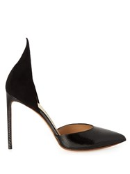Francesco Russo Point Toe Snakeskin And Suede Pumps Black