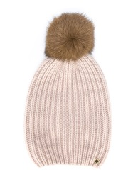 Woolrich Pom Pom Knit Beanie Pink And Purple