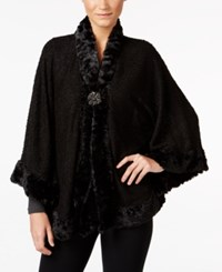 Jm Collection Faux Fur Trim Poncho Only At Macy's Deep Black