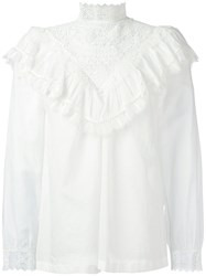 Masscob Embroidered Ruffle Blouse White