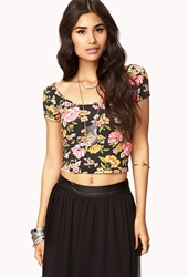 Forever 21 Femme Cutout Crop Top Black Neon Pink
