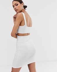 Bershka Ring Front Bodycon Dress In White White