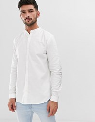 New Look Shirt With Grandad Collar In White