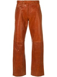 Jean Paul Gaultier Vintage Textured Biker Trousers Yellow And Orange