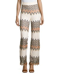 Romeo And Juliet Couture Wide Leg Zigzag Crochet Pants Ivory Multi