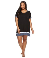 Dkny Plus Size Short Sleeve Sleepshirt Black Women's Pajama
