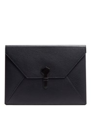 Dunhill Boston Large Grained Leather Envelope Pouch Navy