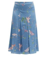 Altuzarra Caroline Bird Print Silk Knee Length Skirt Blue Print