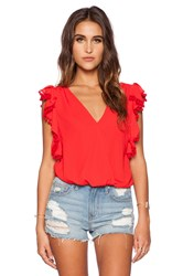 Vava By Joy Han Dorothy Ruffle Top Red