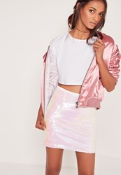 Missguided Iridescent Sequin Mini Skirt White