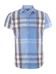 Duck And Cover Stripe Classic Fit Short Sleeve Button Down Shirt Light Blue