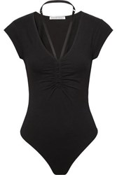 Alexander Wang T By Strap Detailed Ruched Stretch Cotton Jersey Thong Bodysuit Black