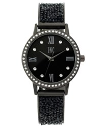 Inc International Concepts Women's Gunmetal And Jet Crystal Stone Glitter Bracelet Watch 34Mm Only At Macy's Black