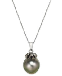Macy's Tahitian Pearl 12Mm And Black Diamond Accent Pendant Necklace In 14K White Gold Gray