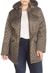 Plus Size Women's Laundry By Design Hooded Zip Front Quilted Coat