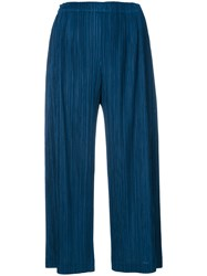 Issey Miyake Pleats Please By Cropped Pleated Trousers Women Polyester 4 Blue