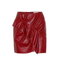 Etoile Isabel Marant Zeist Faux Leather Skirt Red