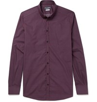 Dolce And Gabbana Slim Fit Button Down Collar Heart Print Cotton Shirt Burgundy