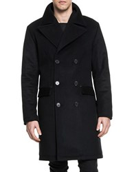 Lamarque Langford Double Breasted Wool Blend Coat Black