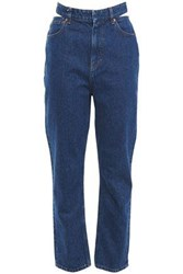 Iro Woman Touro Cutout High Rise Straight Leg Jeans Mid Denim