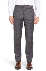 Zanella Men's Flat Front Windowpane Wool Trousers