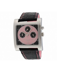 Damiani Tri Calendar Stainless Steel Watch Black Pink