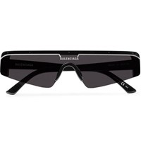 Balenciaga Ski Rectangle Frame Enamelled Acetate Sunglasses Black