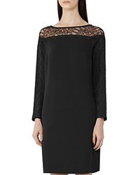 Reiss Claudia Lace Detail Shift Dress Black