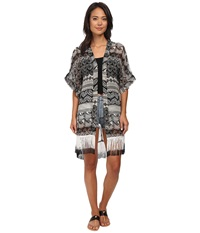 Steve Madden Aztec Scallop Fringed Topper Black Women's Clothing