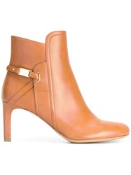 Salvatore Ferragamo Elio Ornament Booties Brown