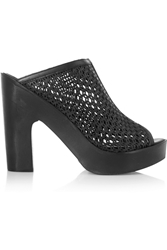 Pour La Victoire Sanya Woven Leather Mules Black
