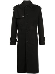 Versace Belted Trench Coat Black