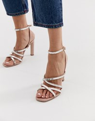 Office Hourglass Pink Diamante Strappy Heeled Sandals