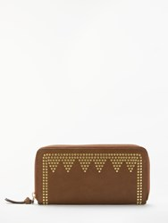 And Or May Leather Stud Zip Around Purse Brown