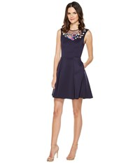 Ted Baker Lavensa Folk Foliage Neoprene Skater Dress Dark Blue Women's Dress