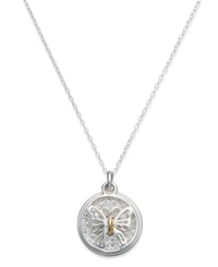 Macy's Inspirational Sterling Silver And 14K Gold Over Sterling Silver Necklace Inspirational Crystal Butterfly Pendant