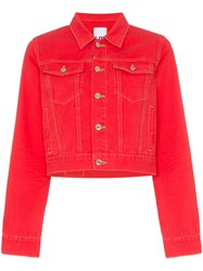 Sjyp Cropped Fitted Denim Jacket Red