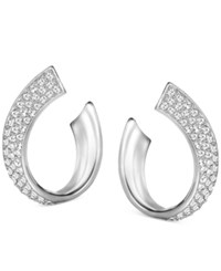 Swarovski Pave Swirl Stud Earrings Silver