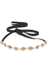 Noir Jewelry Faux Suede Gold Tone Crystal Choker One Size
