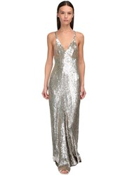 Temperley London Sequined Long Dress Silver