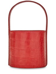 Staud Mini Bissett Embossed Leather Bucket Bag Red