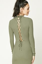 Forever 21 Ribbed Lace Up Back Dress