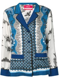 F.R.S For Restless Sleepers Mixed Print Shirt Blue