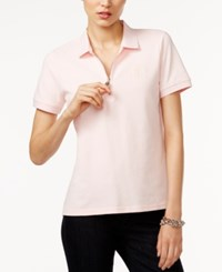 Tommy Hilfiger Zip Up Polo Top Only At Macy's Pink