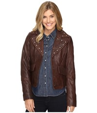 Stetson Crinkled Leather Jacket W Nailheads Brown Women's Coat