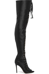 Gianvito Rossi Lace Up Satin Thigh Boots Black
