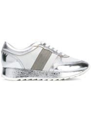Steffen Schraut Metallic Grey Lace Up Sneakers